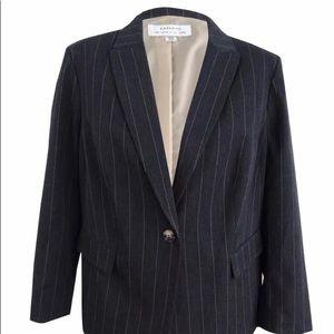 Tahari Womens Gray Cream Business Suit 2 Pieces